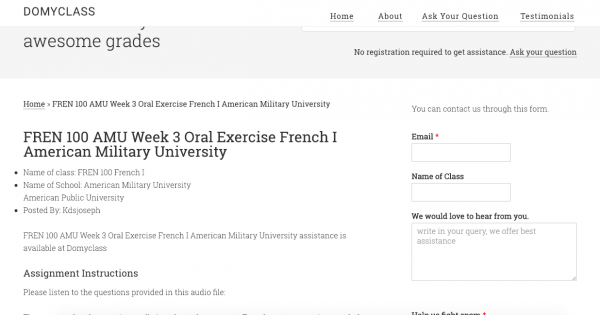 FREN 100 AMU Week 3 Oral Exercise French I American Military