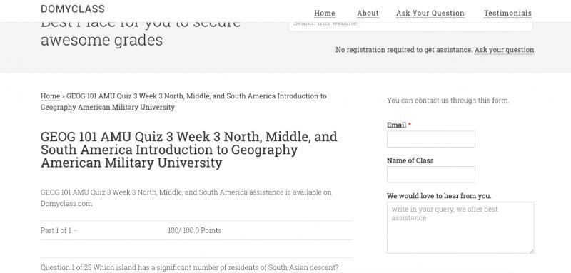 GEOG 101 AMU Quiz 3 Week 3 North, Middle, and South America ... Quiz On South America on